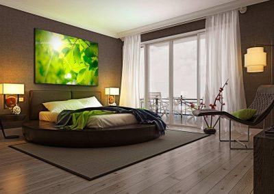 2 led leuchtrahmen octalumina 120 hotel room schlafzimmer wohnen sapnntuch uv druck textil fotocredit octanorm eventpoint