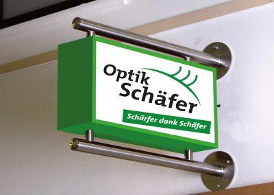 2 led leuchttransparent ausleger edelstahl profil wandmontage optiker optik schaefer rauenberg eventpoint