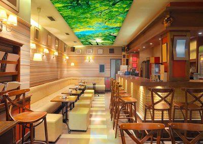 3 led leuchtrahmen octalumina 120 bar restaurant decke spanntuch uv druck fotocredit octanorm eventpoint